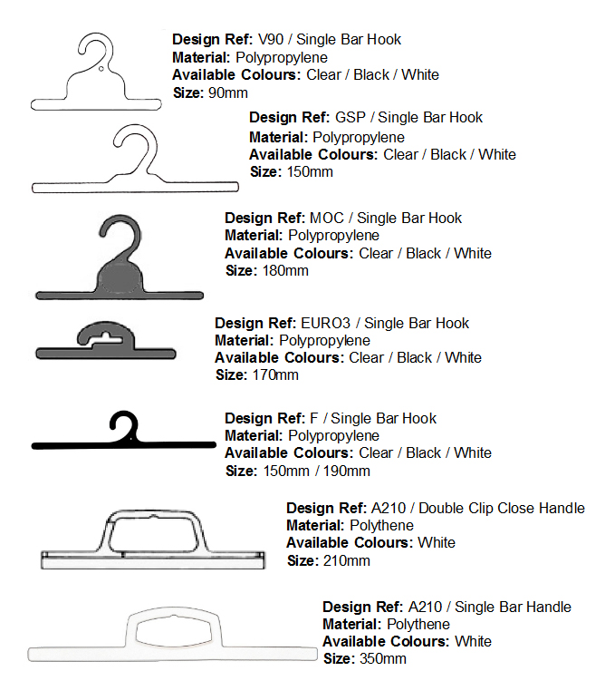 types of hooks and handles available